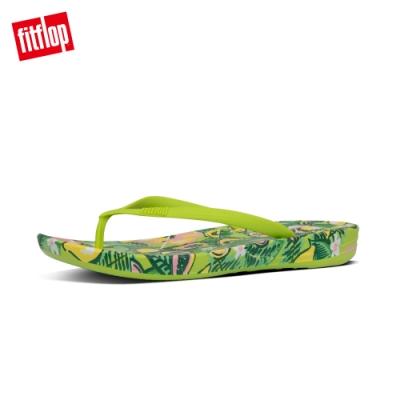 FitFlop IQUSHION FLORAL-PRINT FLIP-FLOPS 印花輕量人體工學戲水夾腳涼鞋-女(檸檬綠)