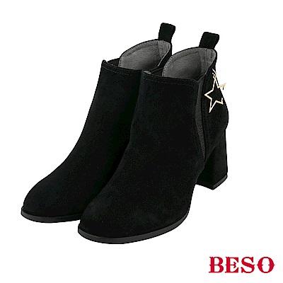 BESO 歐美都會 耀眼星星飾釦短靴-黑