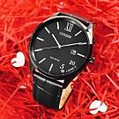 CITIZEN 520 我愛你 城市浪漫 光動能 日期 小牛皮手錶-黑色/41mm