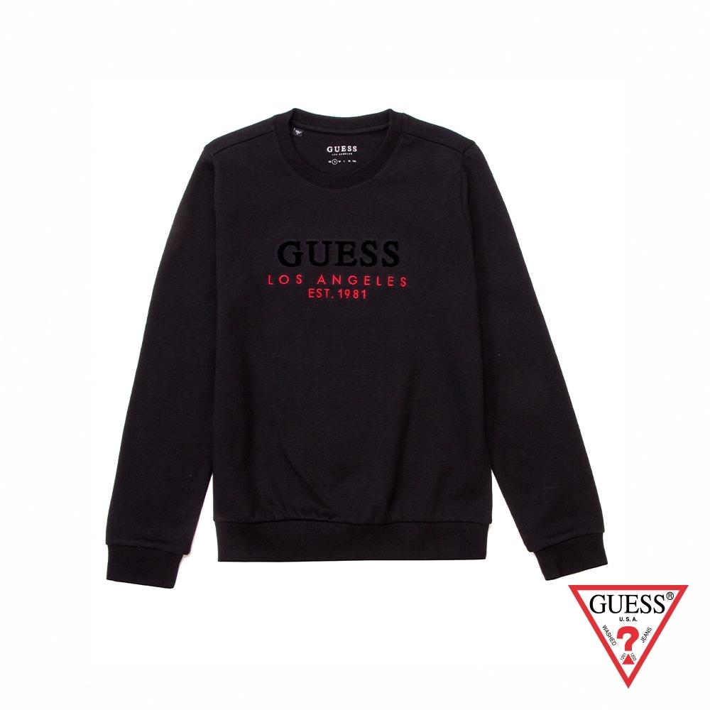GUESS-女裝-簡約LOGO印字長袖上衣-黑