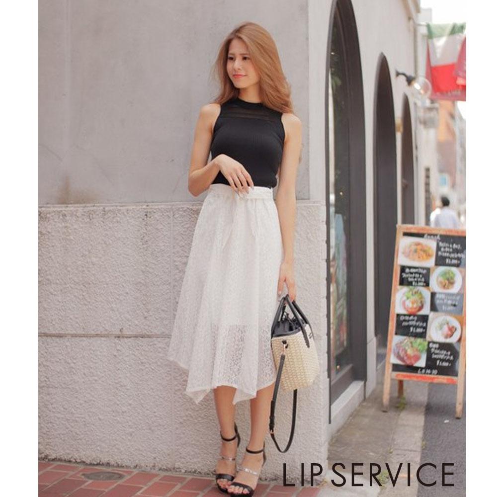 LIP SERVICE 不規則蕾絲長裙(2色)