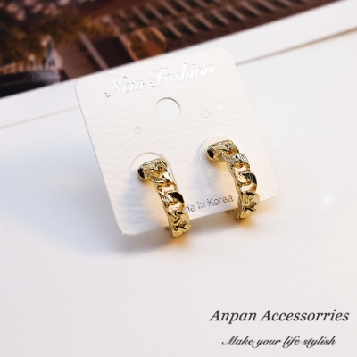 【ANPAN愛扮】韓南大門C型金環耳釘式耳環