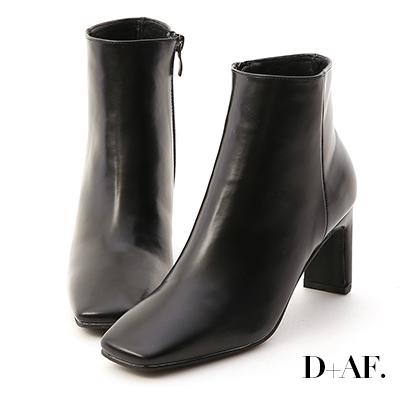 D+AF 美腿指標.復古方頭美型高跟短靴*黑