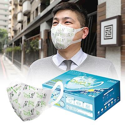 衛風 PM0.3奈米3D薄膜口罩(M-L)-30入盒裝-大象紋