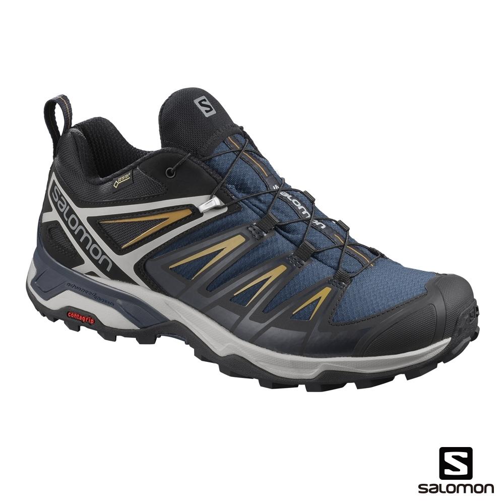 Salomon 男 GORETEX 低筒登山鞋 X ULTRA 3  海藍