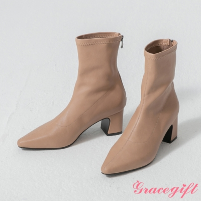 Grace gift-韓系尖頭車線襪靴 杏