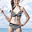 沙兒斯 泳裝 黑白條紋三件式比基尼女泳裝