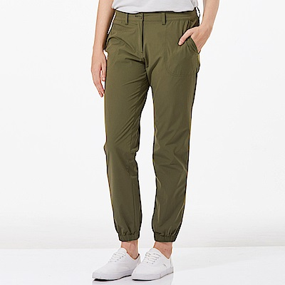 【HAKERS 哈克士】女 抗UV快乾彈性束口九分褲-橄綠