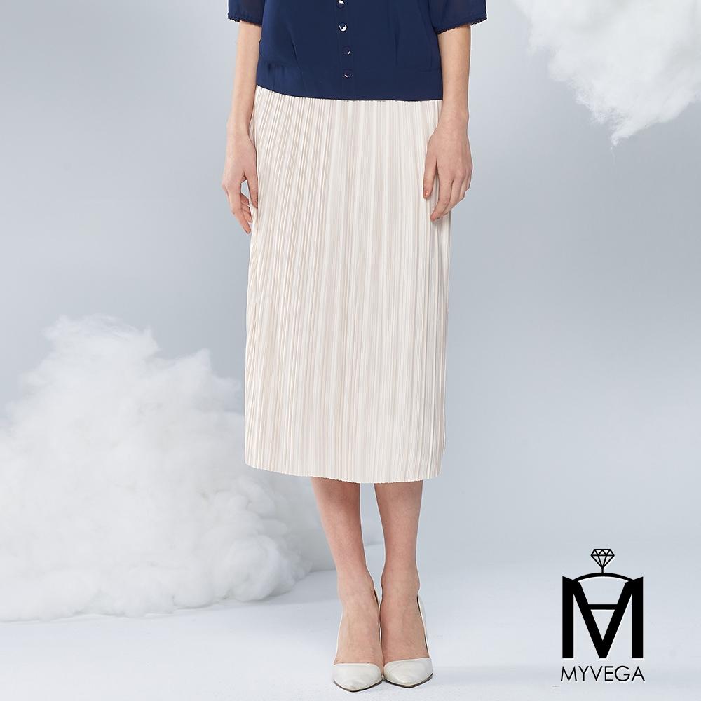 麥雪爾 MA純色光澤壓摺設計中長裙-米