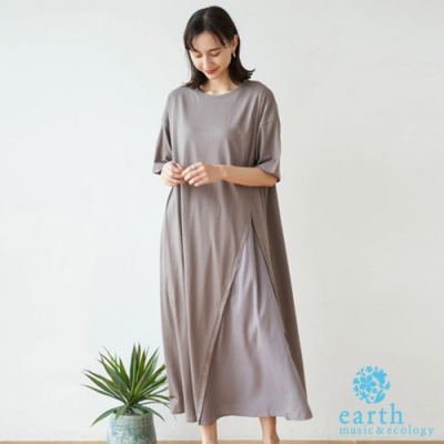 earth music 異素材拼接圓領落肩洋裝