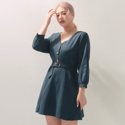 AIR SPACE PLUS V領排釦長袖短洋裝(附腰帶)(藍綠)