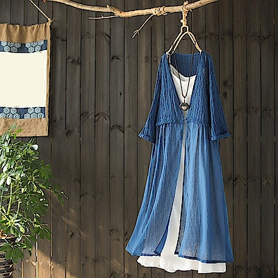 復古文藝寬鬆中長版褶皺純棉外套休閒外搭-設計所在