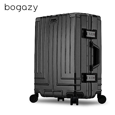 Bogazy 王爵天下 20吋PC拉絲紋鋁框行李箱(經典黑)