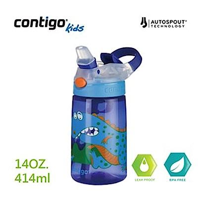 【美國CONTIGO】Gizmo 吸管兒童水壺414cc-寶藍恐龍