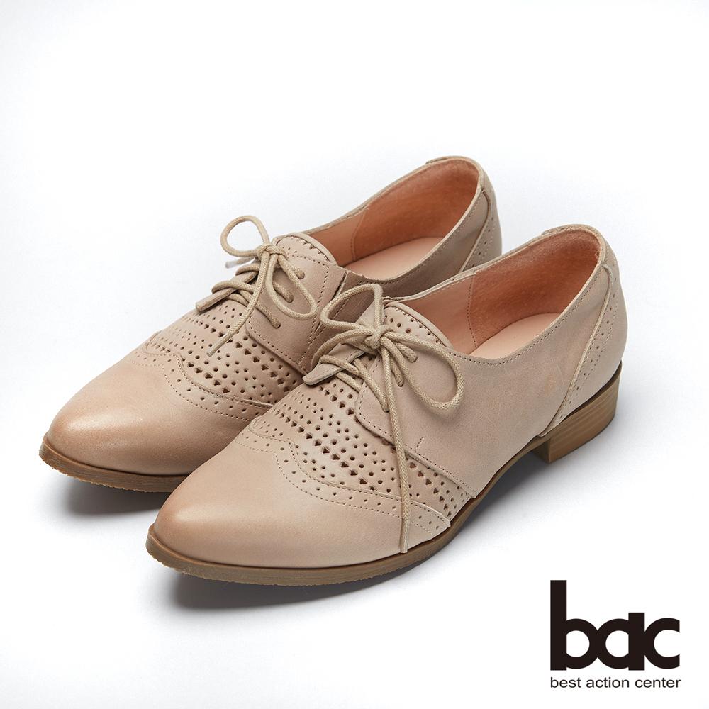 bac愛趣首爾-尖頭柔和雙色感沖孔牛津鞋-米