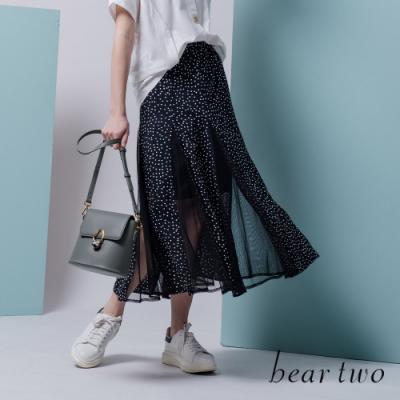 beartwo- 點點拼接透膚網紗傘擺裙-黑