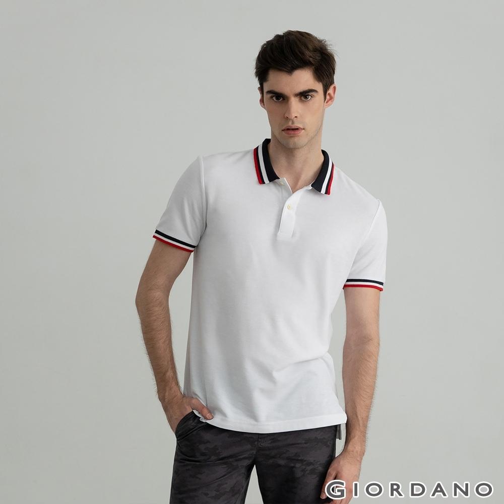 GIORDANO 男裝素色線條POLO衫 - 01 標誌白
