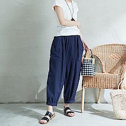 慢 生活大口袋寬鬆棉麻長褲-F 藍色