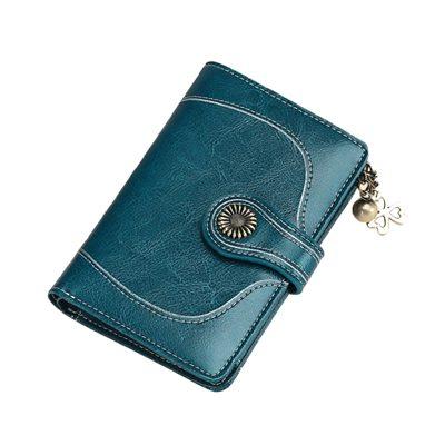玩皮工坊-真皮油蠟牛皮女士15卡位3折皮夾皮包錢包中夾女夾-LH514