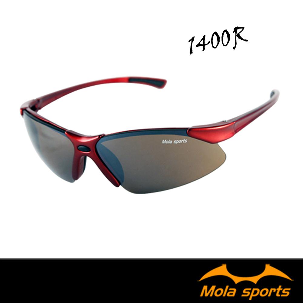 Mola摩拉運動太陽眼鏡 UV400 男女 超輕 紅 1400R跑步高爾夫登山