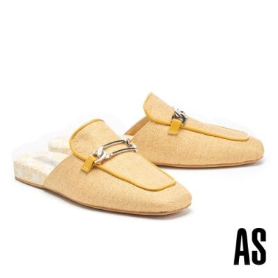 穆勒鞋 AS 慵懶格調斜紋布拼接羊皮方頭穆勒拖鞋-黃