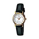 CASIO 精緻小巧婉約氣質女神皮帶腕錶(LTP-1095Q-7B)金框X白面/25mm