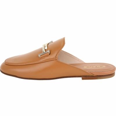TOD'S Double T 金屬設計牛皮穆勒鞋(女鞋/棕色)