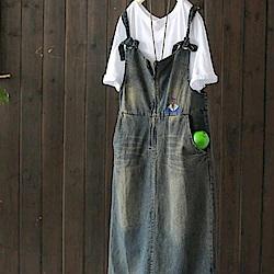 做舊刺繡牛仔背帶裙純棉外穿長洋裝-設計所在