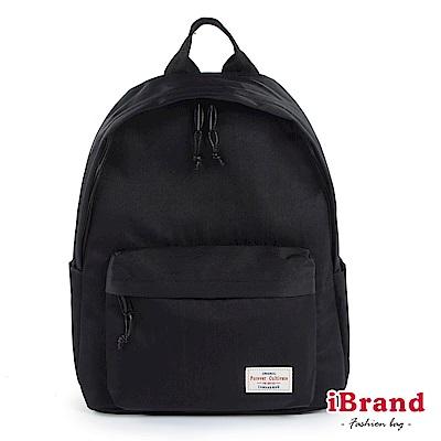 iBrand後背包 簡約素色帆布口袋後背包-百搭黑
