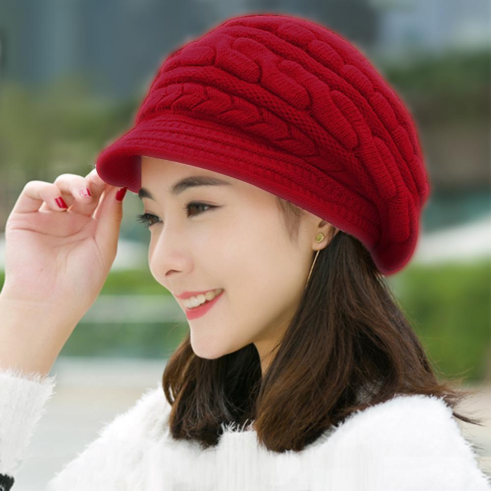 幸福揚邑 麻花針織毛線帽防風保暖加絨貝蕾帽兔毛帽-酒紅
