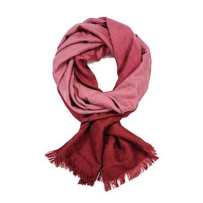 COACH 滿版LOGO羊毛混絲漸層披肩圍巾 粉X紅