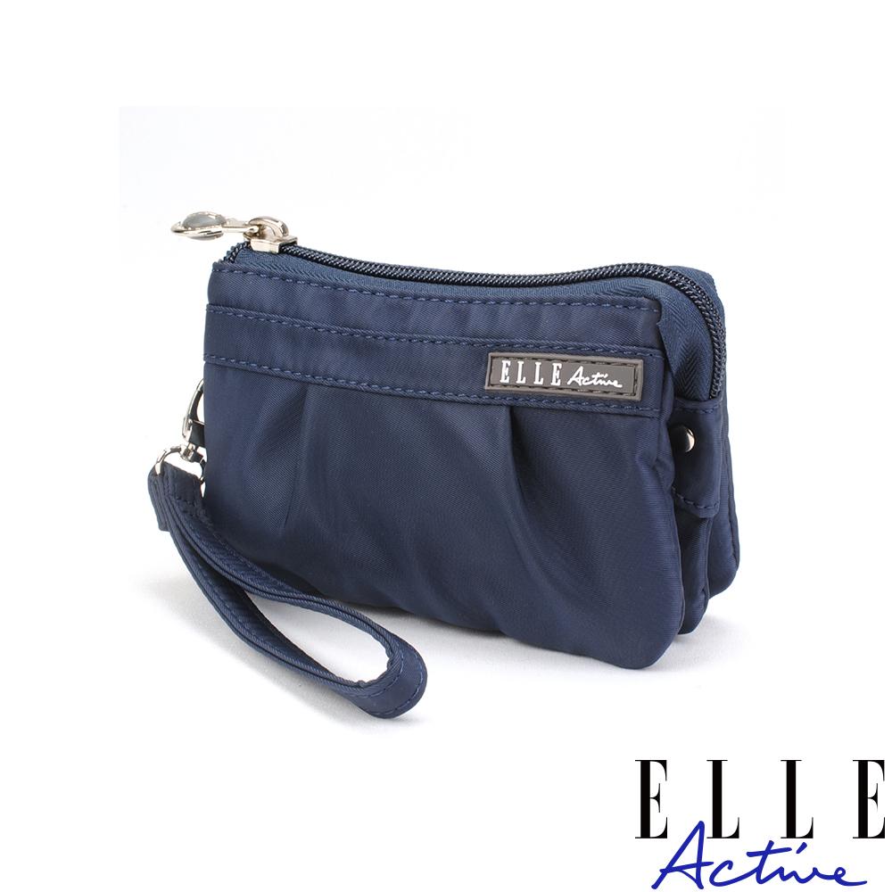 ELLE Active 優雅隨行系列-多夾層零錢包/手腕包/手拿包-深藍色