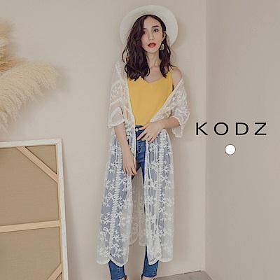 東京著衣-KODZ 優雅質感蕾絲長版外套罩衫(共一色)