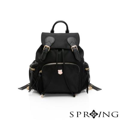 SPRING-未來質感系列尼龍束口後背包-經典黑