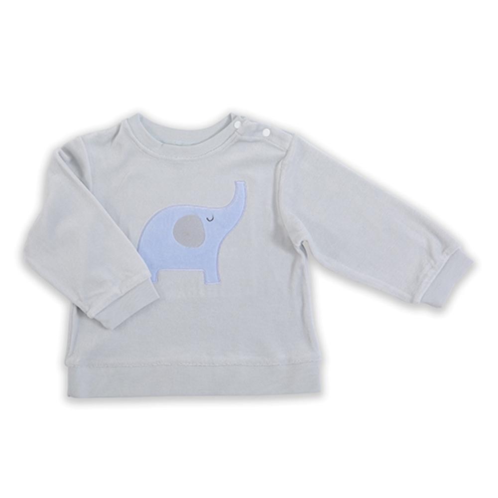 【Deux Filles有機棉】棉絨兒童上衣T恤-灰色