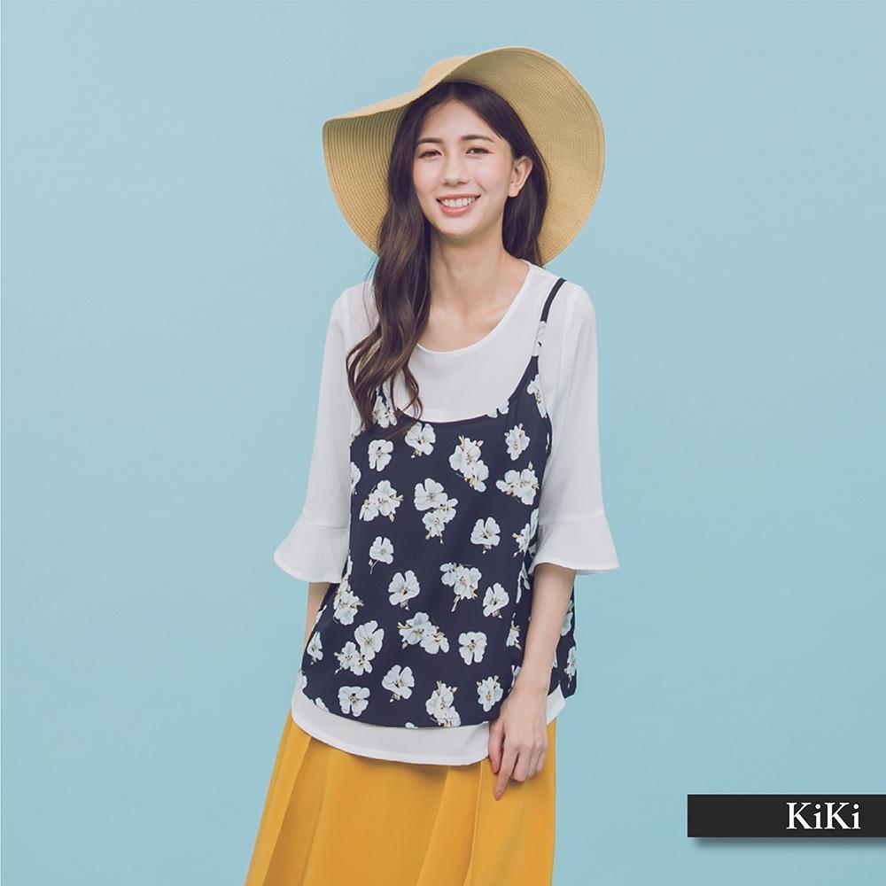 【KiKi】花朵圖騰五分袖-襯衫(二色)