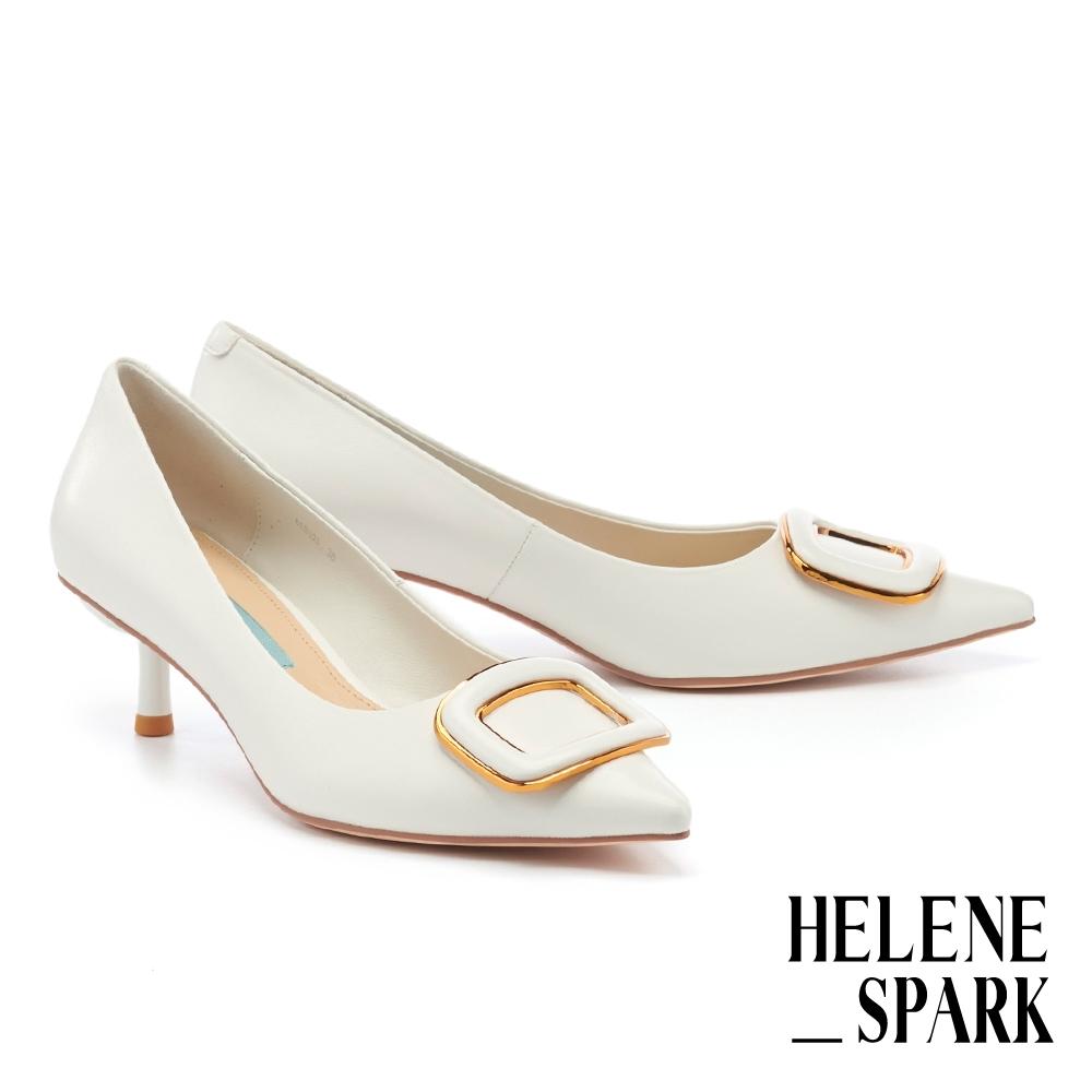 高跟鞋 HELENE SPARK 時尚典雅金屬方釦羊皮尖頭高跟鞋-白