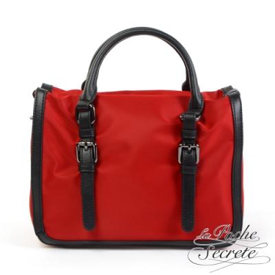 La Poche Secrete側背包 輕盈時尚滾邊撞色尼龍手提側背包-魅力紅