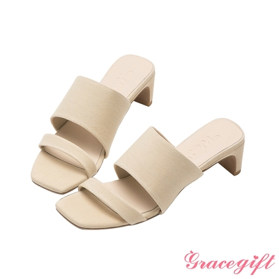 Grace gift X唐葳-聯名素面寬帶扁跟涼拖鞋 米白