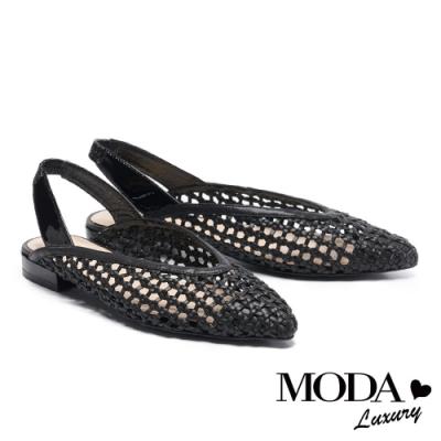 低跟鞋 MODA Luxury 慵懶度假風編織後繫帶低跟鞋-黑