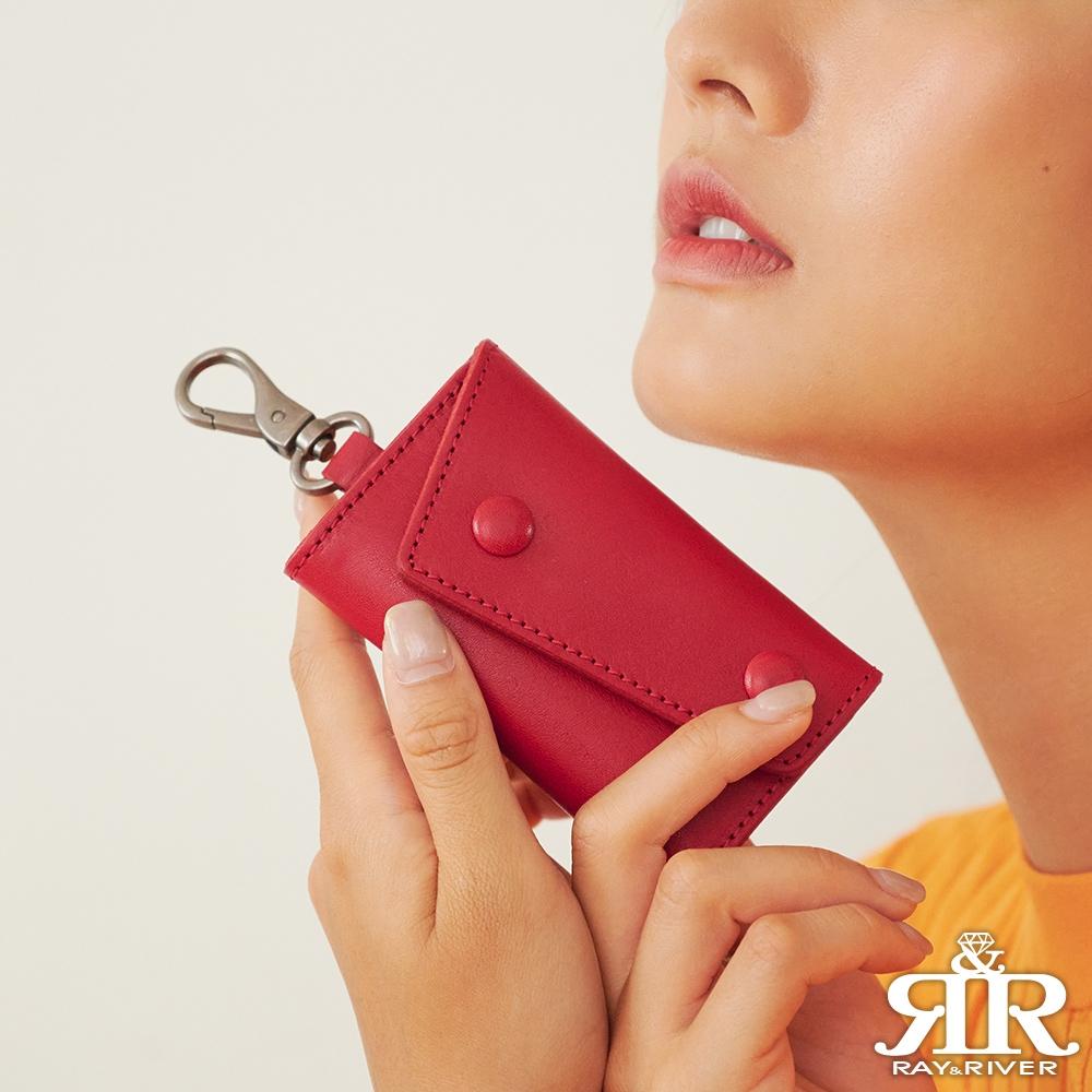 2R 植鞣樹羔牛皮 Leather 復古雙釦鑰匙包 曠野紅