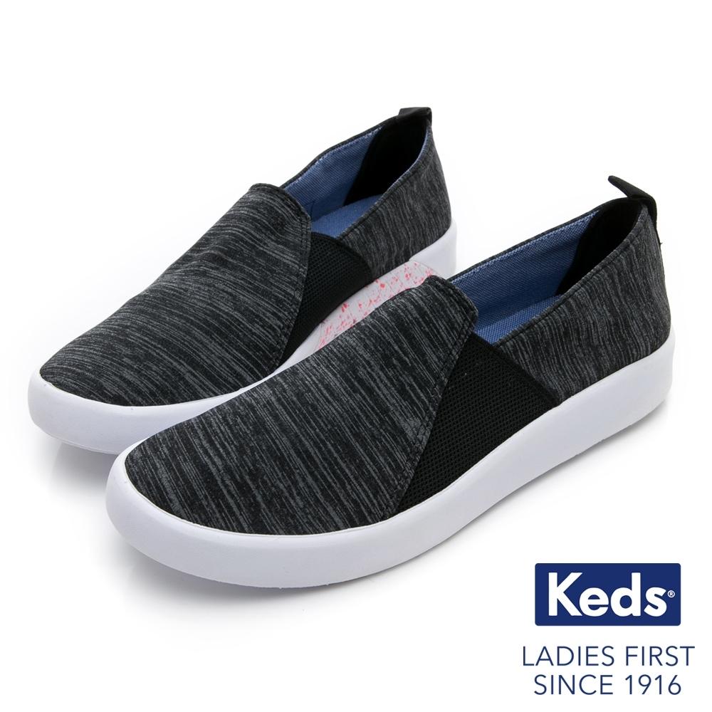[時時樂限定]Keds STUDIO 輕量彈力拼接休閒便鞋-黑