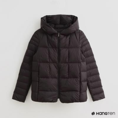 Hang Ten -女裝 - 可折疊連帽羽絨外套 - 黑