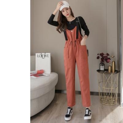 2F韓衣-韓系吊帶收腰造型修身長褲-新-3色(S-XL)