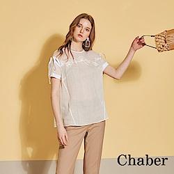 Chaber巧帛 天然100%苧麻刺繡拼接造型上衣(兩色)-百合白