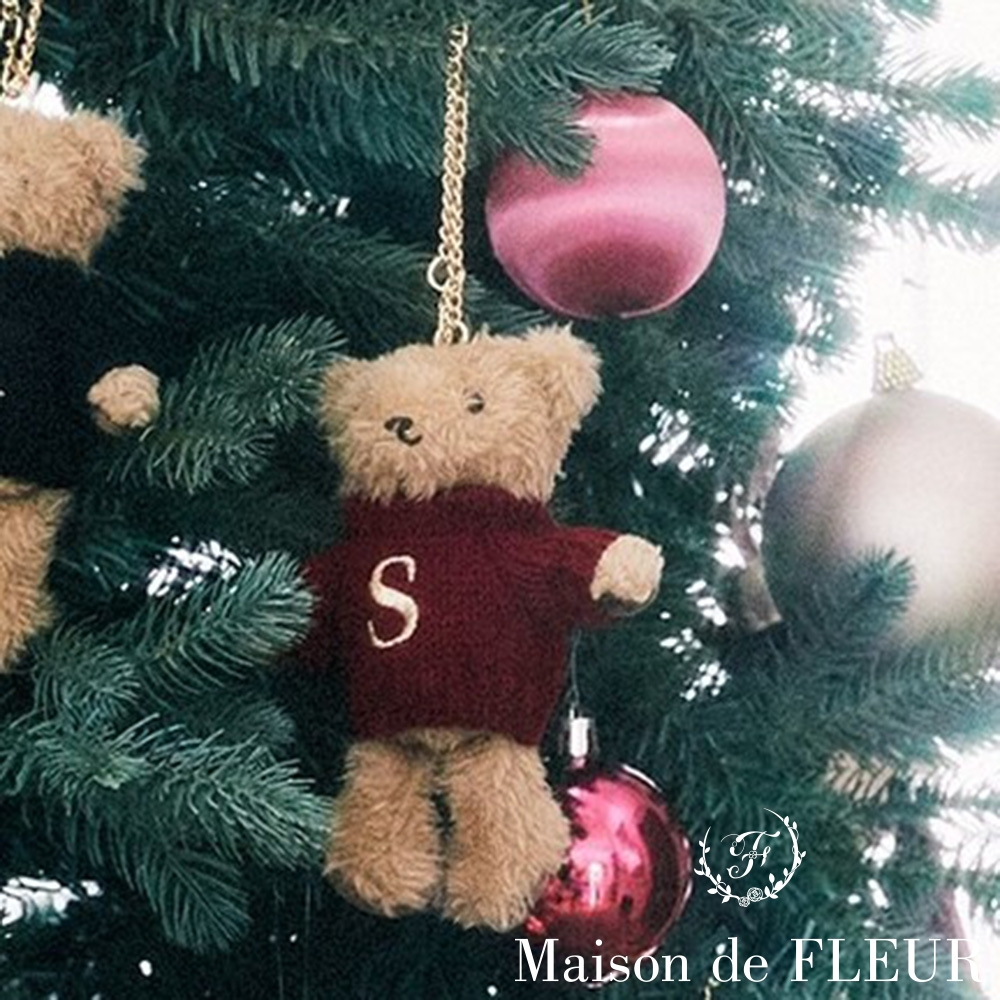 Maison de FLEUR  可愛小熊S字母刺繡吊飾