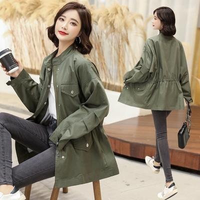 米蘭精品 風衣大衣中長版外套-寬鬆抽繩休閒秋季女外套73yt24
