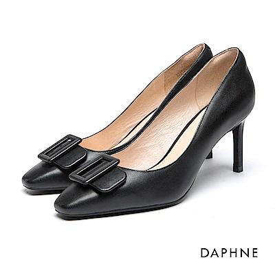 達芙妮DAPHNE 跟鞋-真皮方型釦飾高跟鞋-黑