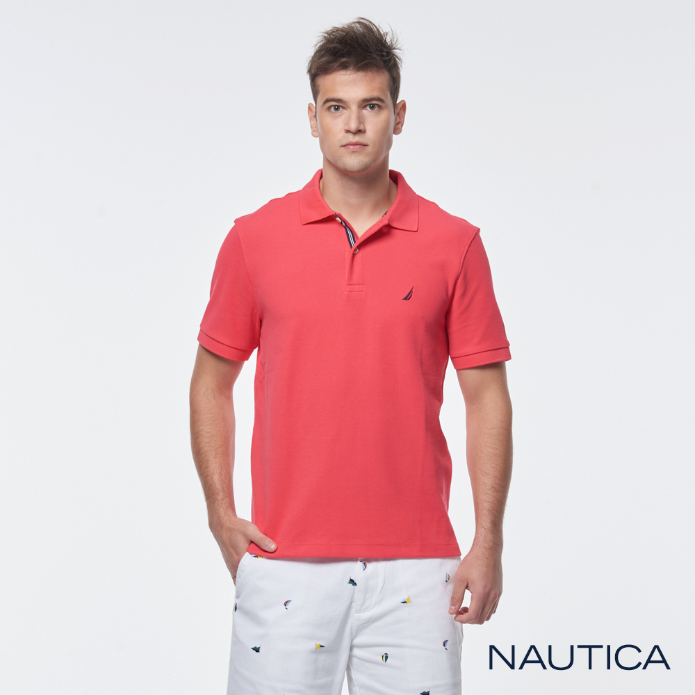 Nautica 簡約素色吸濕快乾短袖POLO衫-櫻桃紅