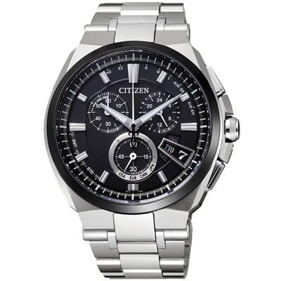 CITIZEN 光動武俠鈦金屬電波時計腕錶-黑-43mm